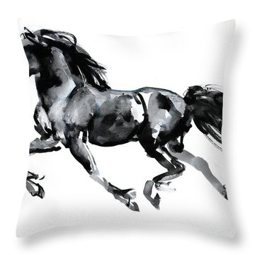 Flying Friesian Throw Pillow