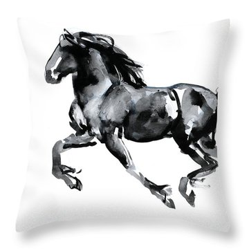 Flying Friesian Throw Pillow