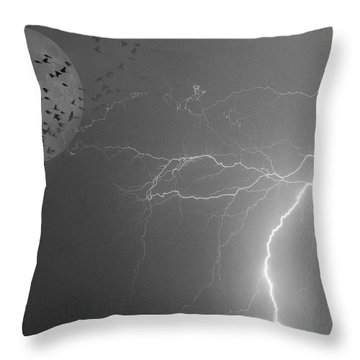 Flying From The Storm Bw Throw Pillow by James BO  Insogna