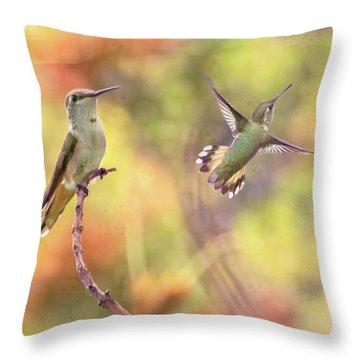 Flying Gems Throw Pillow