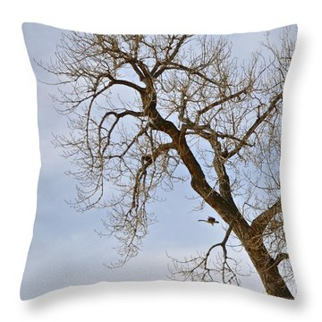 Flying Goose By Great Tree Throw Pillow