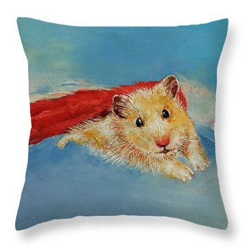 Hamster Superhero Throw Pillow by Michael Creese