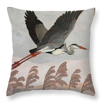 Flying Heron Throw Pillow