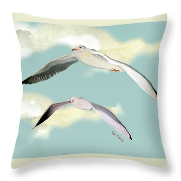 Throw Pillow featuring the painting Flying High by Anne Beverley-Stamps