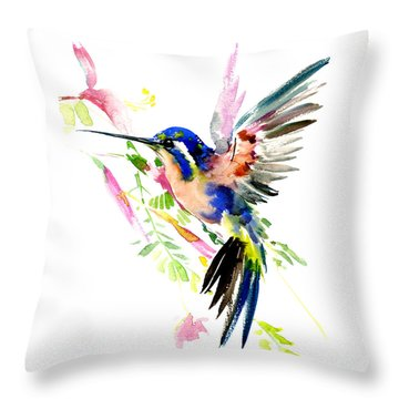 Flying Hummingbird Ltramarine Blue Peach Colors Throw Pillow