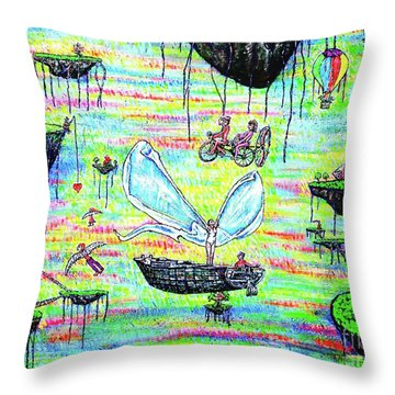 Throw Pillow featuring the painting Flying Islands by Viktor Lazarev