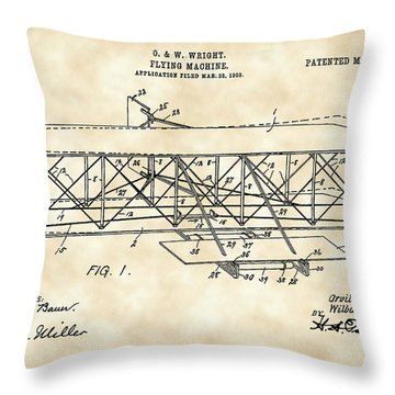 Flying Machine Patent 1903 - Vintage Throw Pillow by Stephen Younts