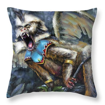 Flying Monkey Throw Pillow