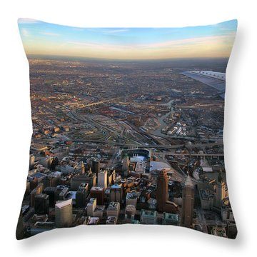 Flying Over Cincinnati Throw Pillow