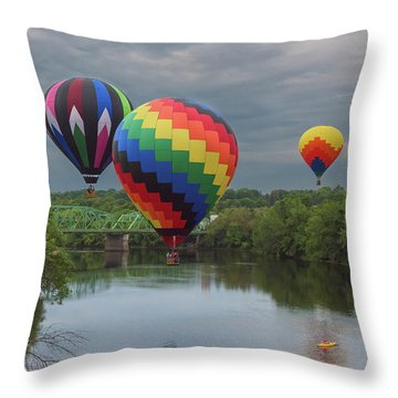 Flying Over The Androscoggin Throw Pillow
