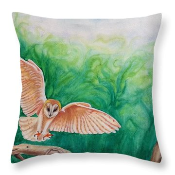 Flying Owl Throw Pillow