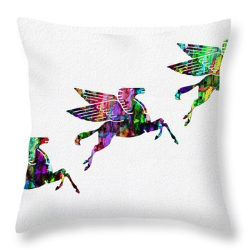 Flying Pegasus Rainbow Throw Pillow