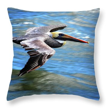 Flying Pelican Throw Pillow