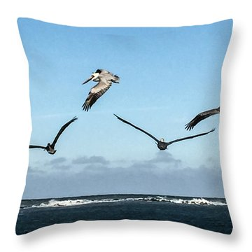 Flying Pelicans Throw Pillow by Nance Larson