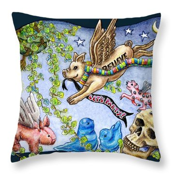 Flying Pig Party 2 Throw Pillow by Retta Stephenson
