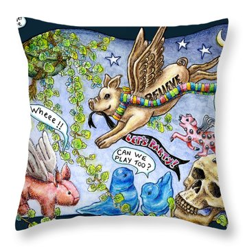 Flying Pig Party Throw Pillow
