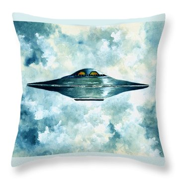 Flying Saucer Throw Pillow by Michael Vigliotti
