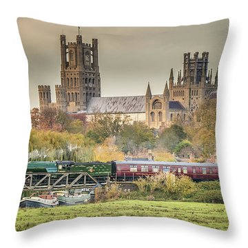 Throw Pillow featuring the photograph Flying Scotsman At Ely by James Billings