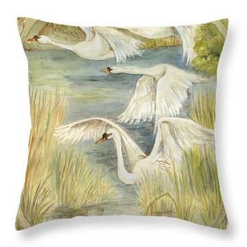 Flying Swans Throw Pillow by Morgan Fitzsimons