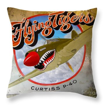Throw Pillow featuring the painting Flying Tigers by Alan Johnson