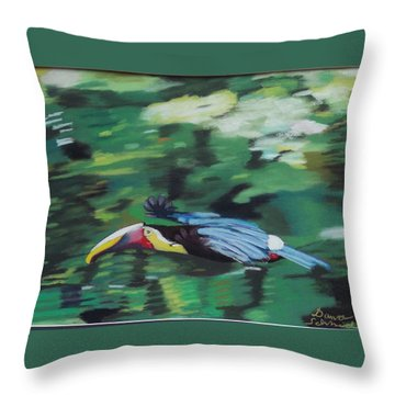 Flying Toucan In Costa Rica Throw Pillow