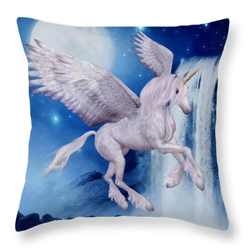 Flying Unicorn Throw Pillow