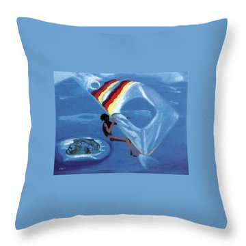 Flying Windsurfer Throw Pillow