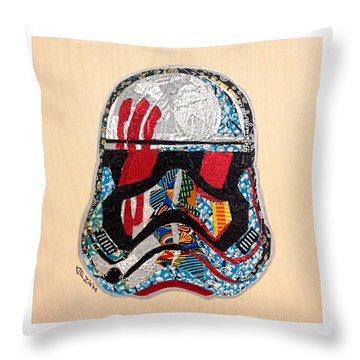 Throw Pillow featuring the tapestry - textile Storm Trooper Fn-2187 Helmet Star Wars Awakens Afrofuturist Collection by Apanaki Temitayo M