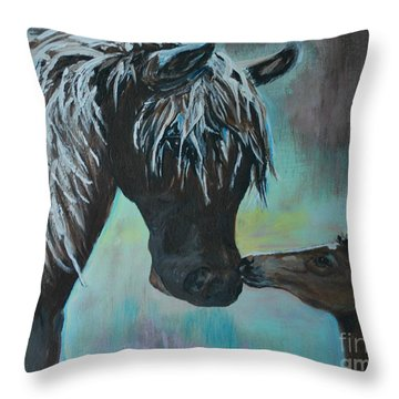 Throw Pillow featuring the painting Foal Kiss by Leslie Allen