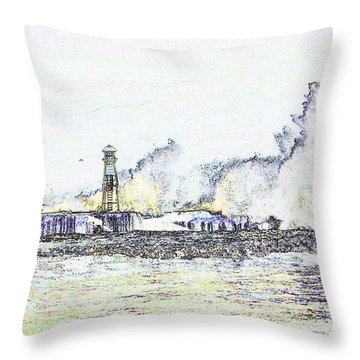 Throw Pillow featuring the photograph Foamy Sea At The Breakwater by Nareeta Martin