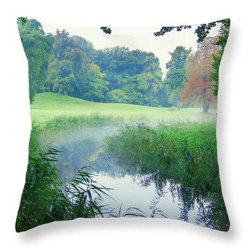 Fog Along A Creek In Autumn Throw Pillow