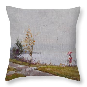 Fog And Rain At Gratwick Waterfront Park Throw Pillow
