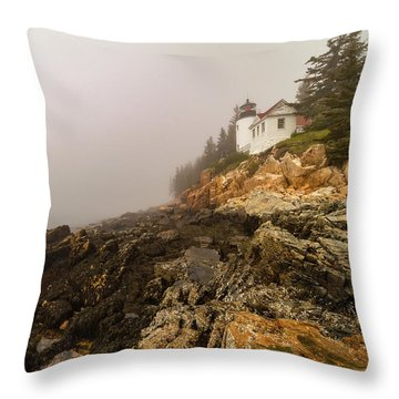 Throw Pillow featuring the photograph Fog At Bass Harbor Lighthouse by Jeff Folger