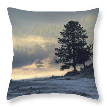 Fog At Sunrise Throw Pillow