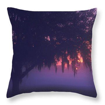 Fog At Sunrise Throw Pillow by Warren Thompson