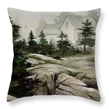 Throw Pillow featuring the painting Fog At The Coast by James Williamson