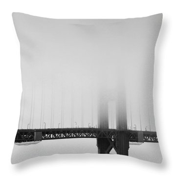 Fog At The Golden Gate Bridge 4 - Black And White Throw Pillow