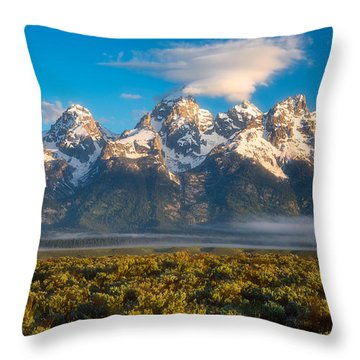 Fog At The Tetons Throw Pillow