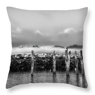 Fog Beyond The Breakwater Throw Pillow by Richard Bean