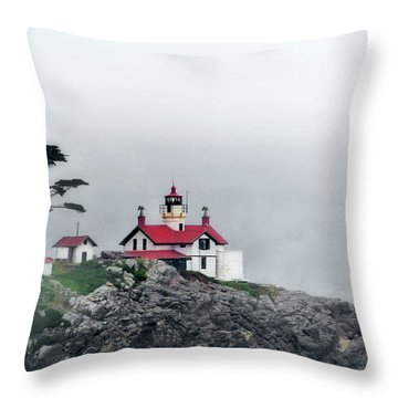 Fog Comes Rolling In - Battery Point Lighthouse - Crescent City Ca Throw Pillow by Christine Till