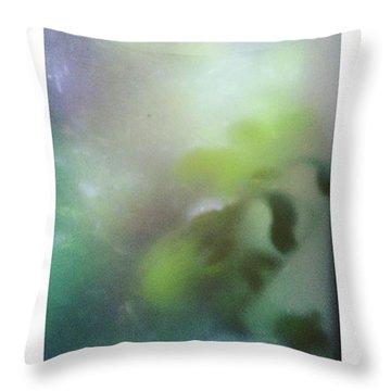 #fog #green #autumn #leaves #garden Throw Pillow