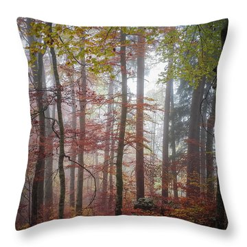 Fog In Autumn Forest Throw Pillow