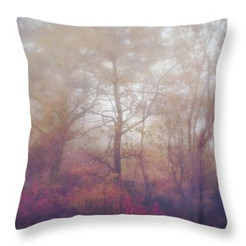 Fog In Autumn Mountain Woods Throw Pillow