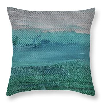 Throw Pillow featuring the painting Fog In The Bay by Kim Nelson