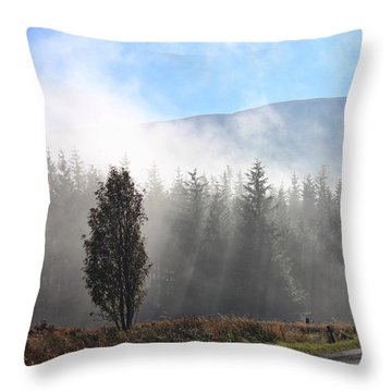 Fog On The Road To Fintry Throw Pillow by RKAB Works