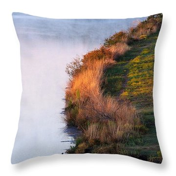 Fog Over The Lake Throw Pillow