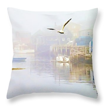 Fog Over West Dover - Digital Paint Throw Pillow
