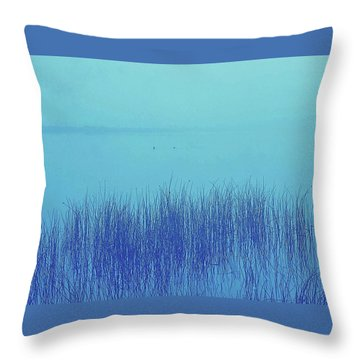 Fog Reeds Throw Pillow by Laurie Stewart