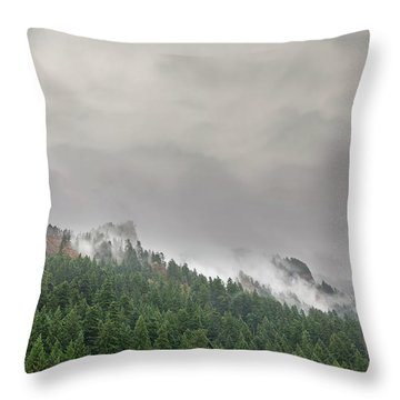 Fog Rolling Over Columbia River Gorge Throw Pillow
