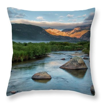 Fog Rolls In On Moraine Park And The Big Thompson River In Rocky Throw Pillow